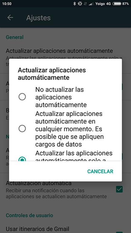 Android desactivar actualizaciones automaticas al compartir wifi desde otro dispositivo