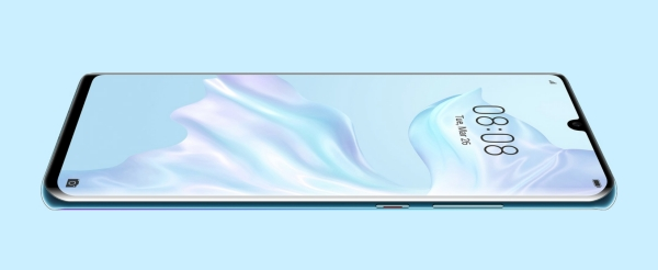 Pantalla Huawei P30 Pro horizontal apoyado sobre la parte trasera se obserrva la pantalla en tonos azulados